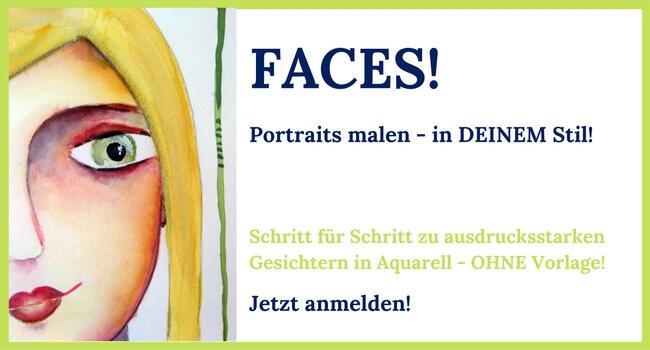 Faces Portrait malen lernen mit Clarissa